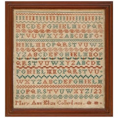 Red & Green English Sampler dated 1828