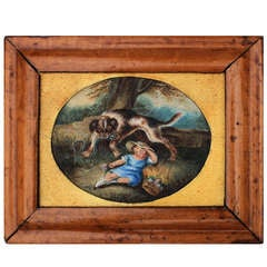 """Miniature English Watercolor """"SAVED"""" by T. Biggs 1856"""