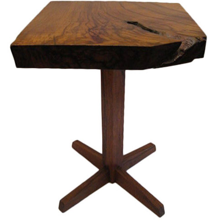 Thick Square Black Stone Top Coffee Table With Short Black: Square Pedestal Table By George Nakashima At 1stdibs
