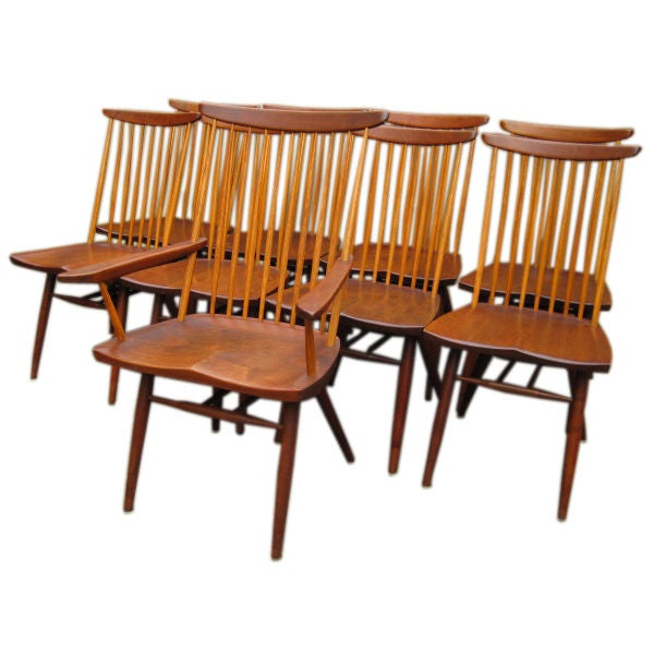 "Set of ten George Nakashima  Walnut"" New "" Chairs"