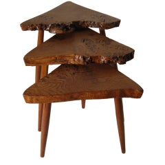Set of English Oak Burl Stacking Tables by George Nakashima