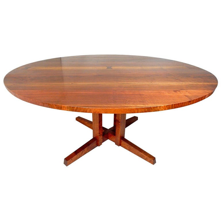 Walnut Cluster Base Table by George Nakashima