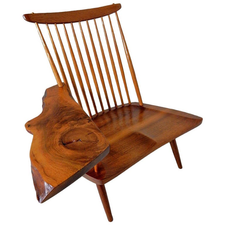 Walnut Lounge Chair with Saddle Seat by George Nakashima 1