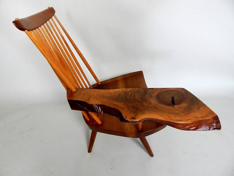 Walnut Lounge Chair with Saddle Seat by George Nakashima 3
