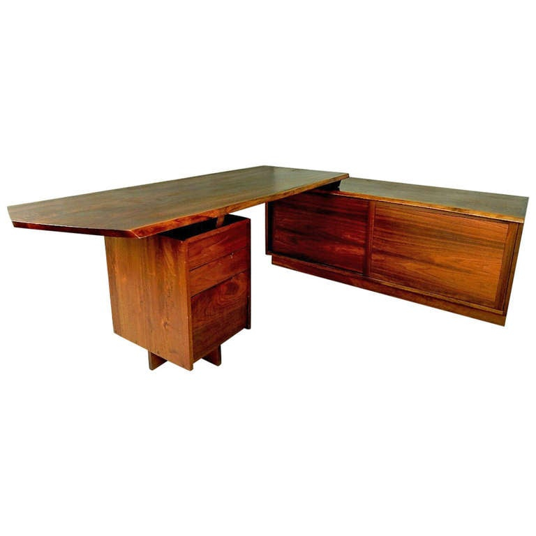 Walnut Pedestal Desk with Credenza by George Nakashima