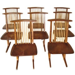 Set of Eight Conoid Chairs by George Nakashima