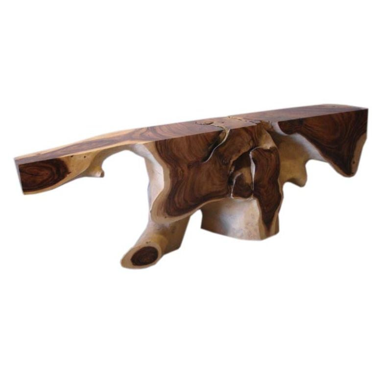 Hand Carved Tropical Root Wood Console At 1stdibs