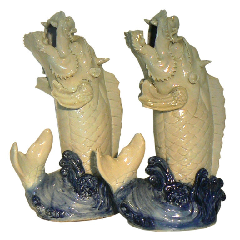 Pair Of Antique Chinese Dragon Fish Urns At 1stdibs