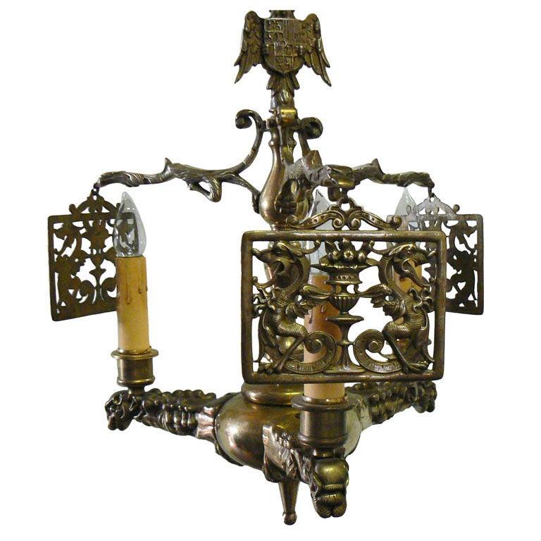 Italian Bronze Tri Lantern Fixture Vintage At 1stdibs