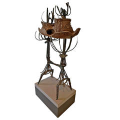 Clay and Metal Sculpture by Leon Roloff