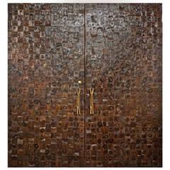 Striking Pair of Patchwork Burl Doors