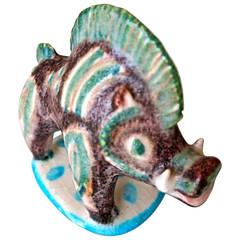 Colorful Ceramic Boar by Guido Gambone