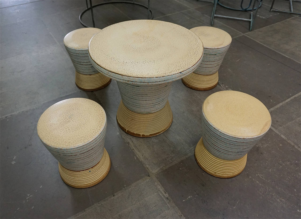 Exceptional Ceramic Table And Stools At 1stdibs