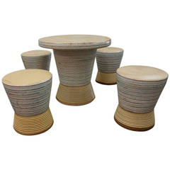 Exceptional Ceramic Table and Stools