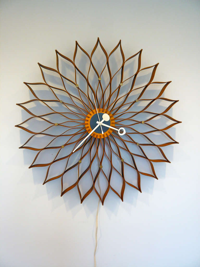 vintage sunflower clock by george nelson at stdibs - vintage sunflower clock by george