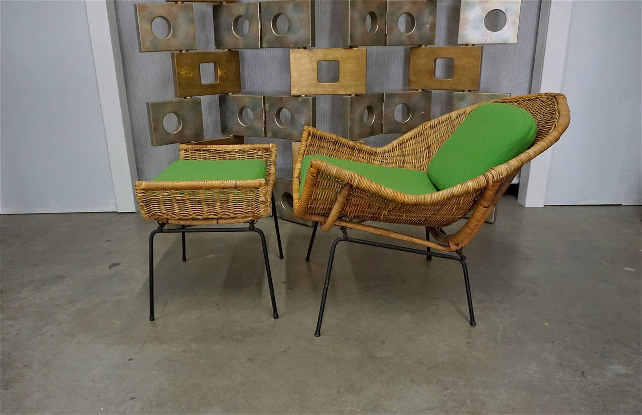 Rattan Lounge Chair and Ottoman by Danny Ho Fong for Tropi-Cal at ...