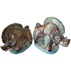 Pair of Ceramic Wild Boars by Guido Gambone
