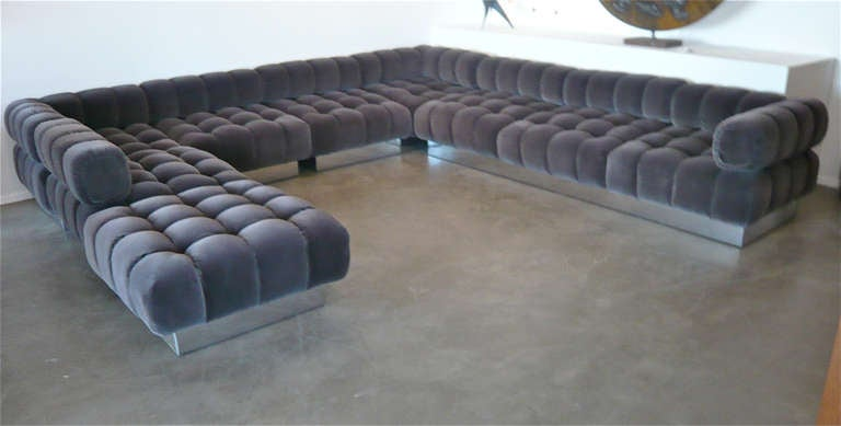 5 Sections,can Be Configured As Desired.Reupholstered In Gun Metal Gray,  High