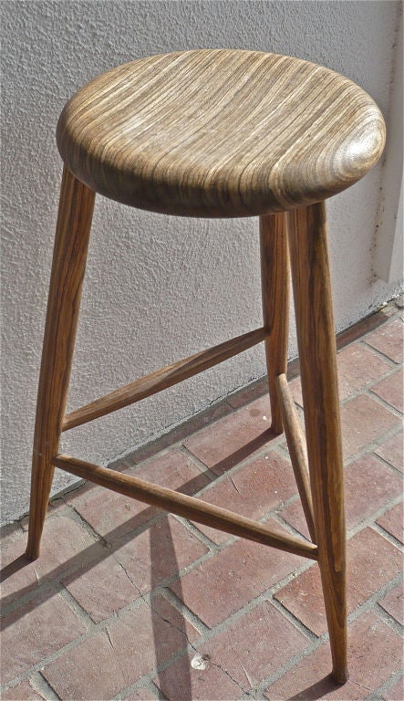 Zebra Wood Bar Stool At 1stdibs