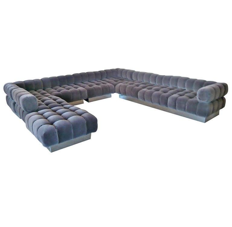 Deep tuft modular sofa by harvey probber at 1stdibs for Deep sofas for sale
