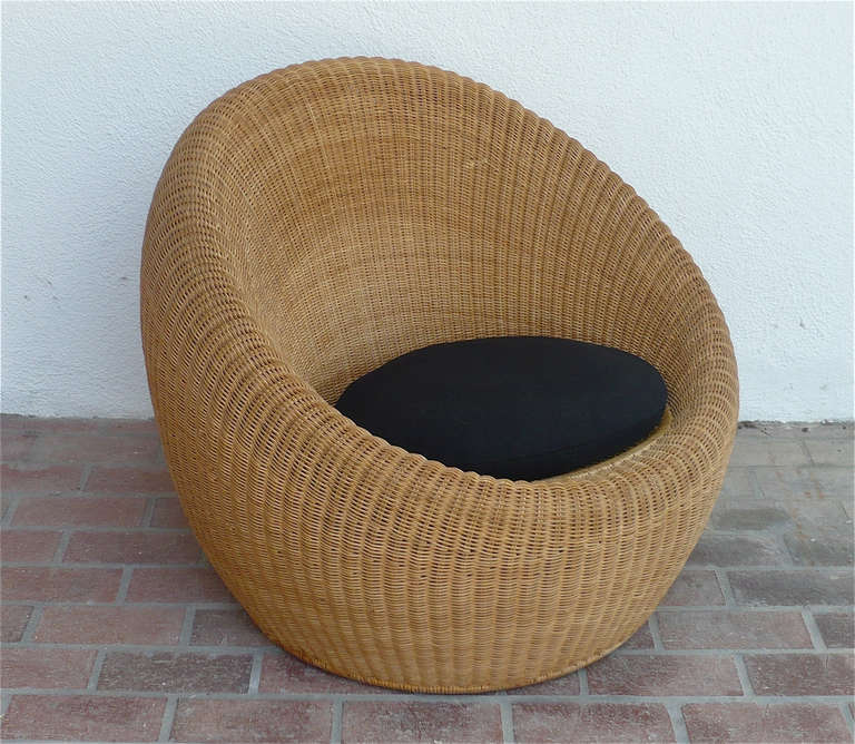 Isamu Kenmochi Rattan Lounge Chair at 1stdibs