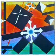 Geometric Abstract Painting by James McCray, 1966