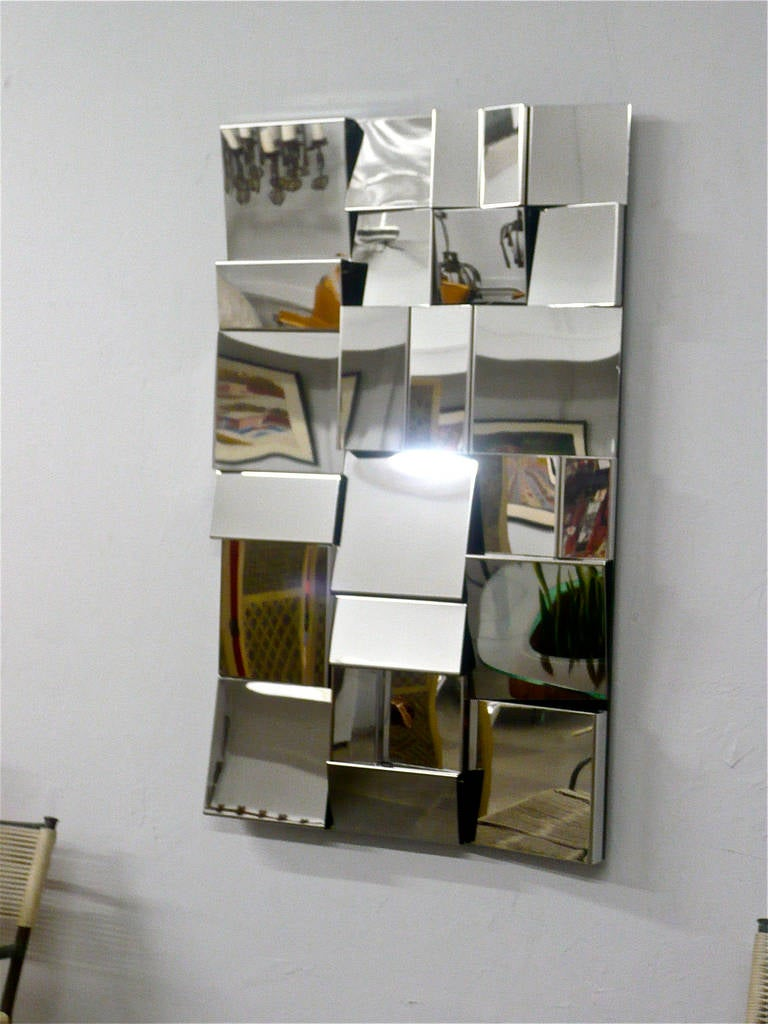 Polished Stainless Steel Op Art Wall Sculpture In Excellent Condition In Cathedral City, CA
