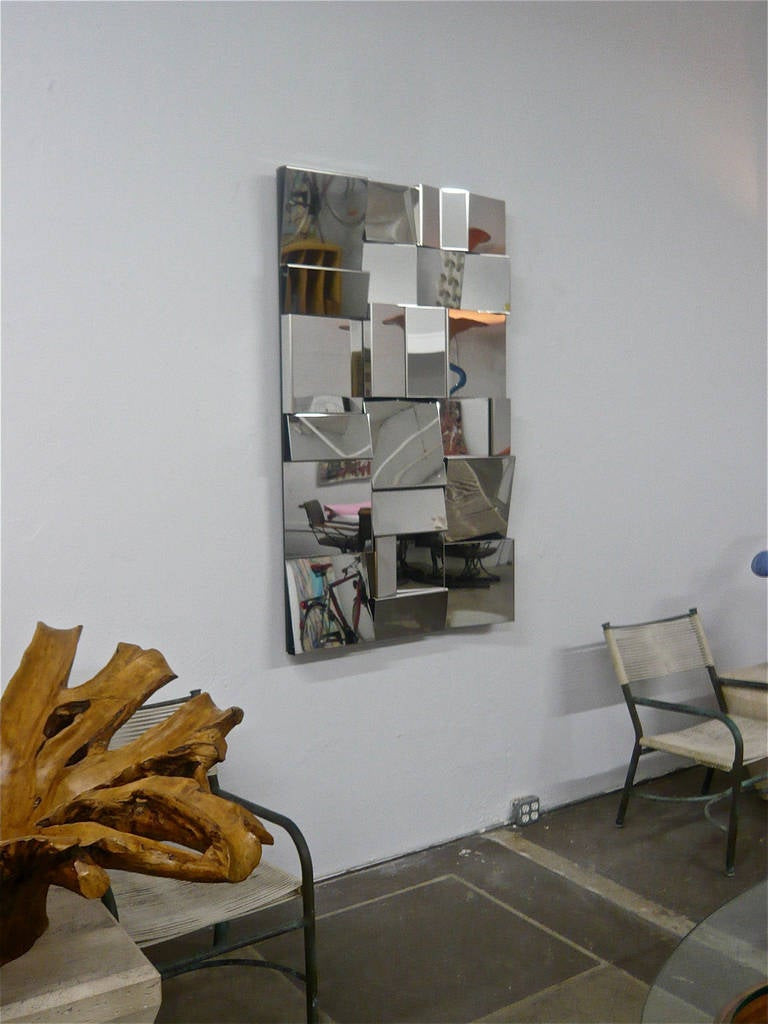 Polished Stainless Steel Op Art Wall Sculpture 1