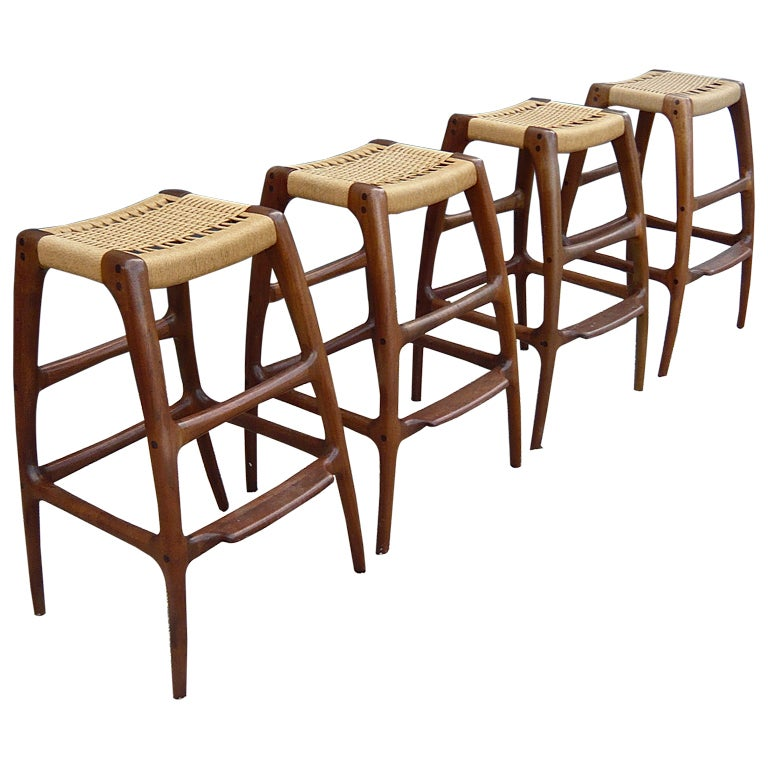 Four 4 Handcrafted Barstools By Rick Pohlers At 1stdibs