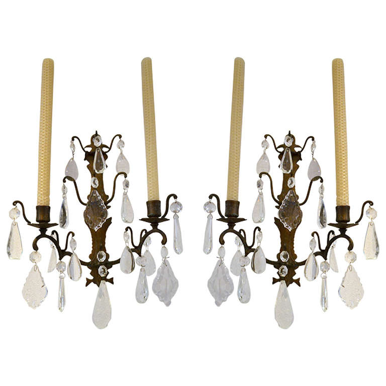 Wall Candle Sconces With Crystals : Pair of 19th c. Brass and Crystal two-candle Sconces at 1stdibs