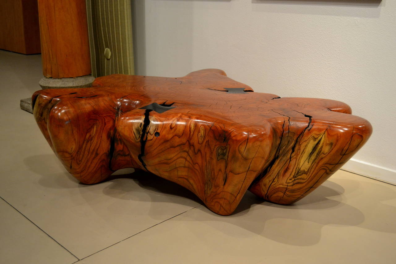 Carved Giant Red Cypress Table By Daniel Pollock For Sale