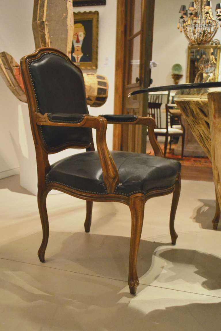 Five French Louis Xv Leather Bergere Chairs At 1stdibs