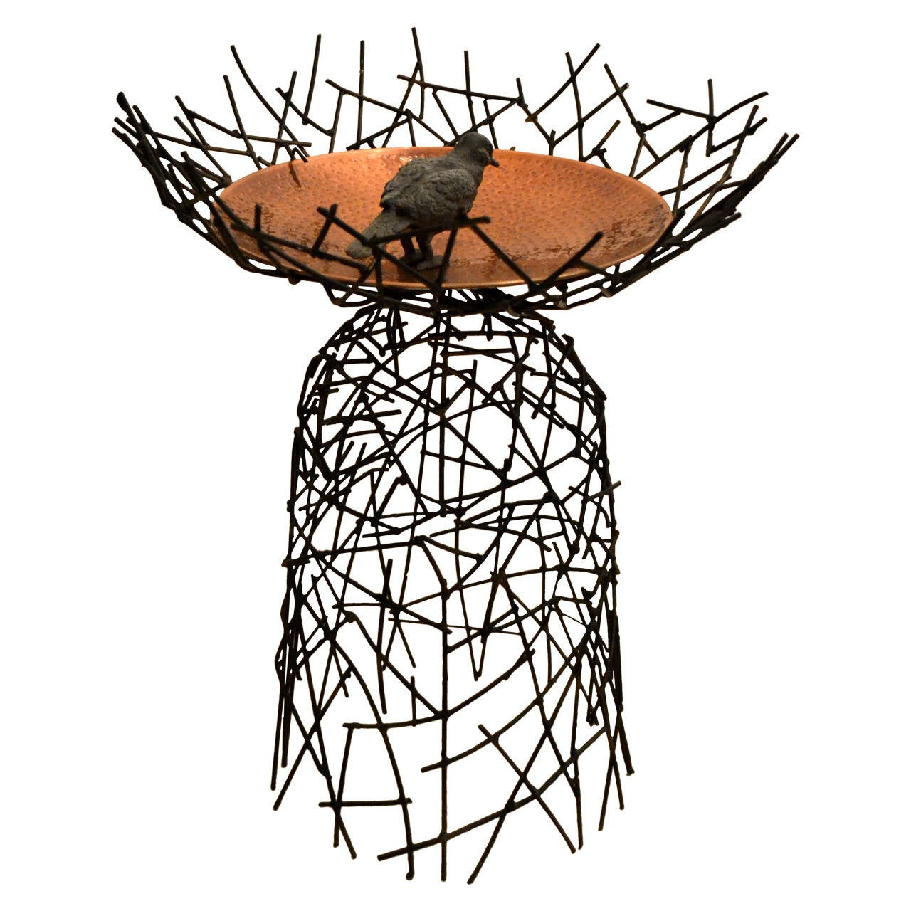 Steel Basket Weave and Copper Bird Bath by Moira Fain For Sale