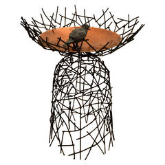 Steel Basket Weave and Copper Bird Bath by Moira Fain
