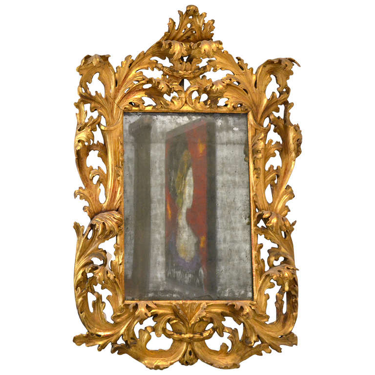 Very fine large 17th century italian baroque carved wood for Italian baroque mirror