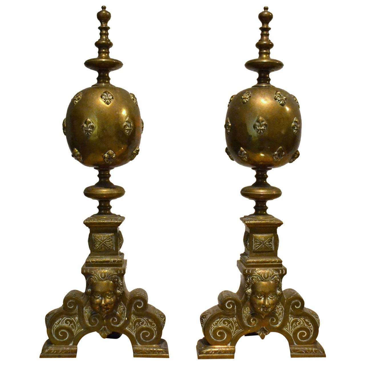 Monumental Pair of Brass Andirons with Fleur de Lys Motif