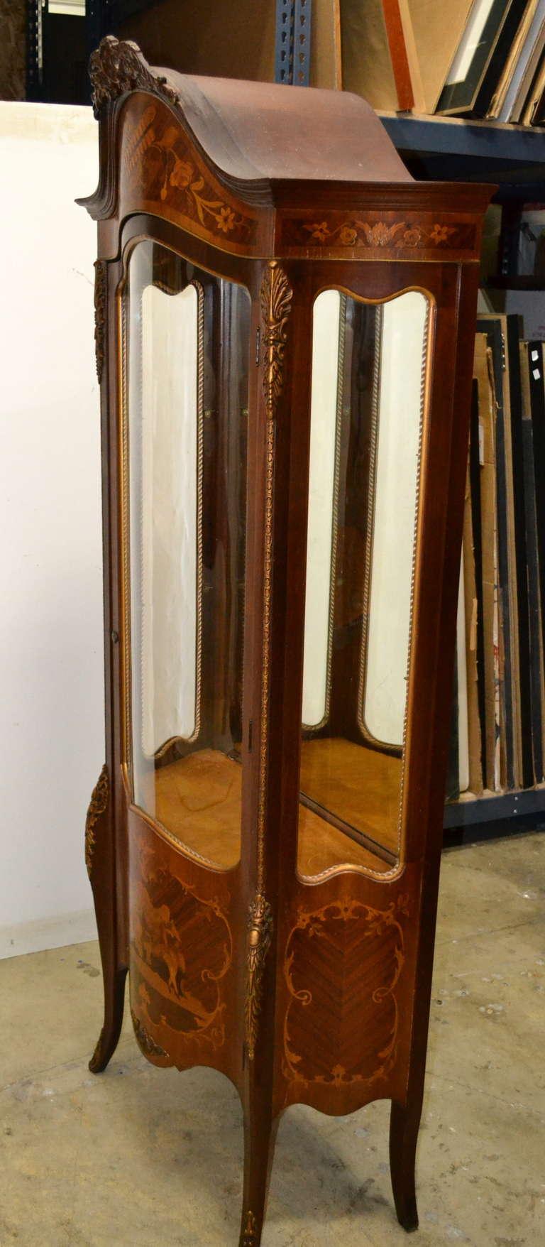 Wood French Vernis Martin Vitrine, Curio For Sale