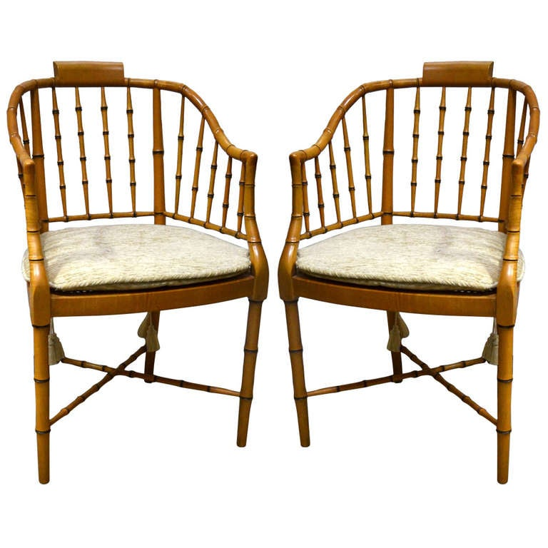Pair Of Vintage Baker Bamboo Armchairs At 1stdibs
