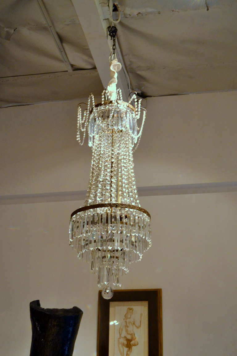 Fine Antique French Empire Cut Crystal Chandelier For Sale