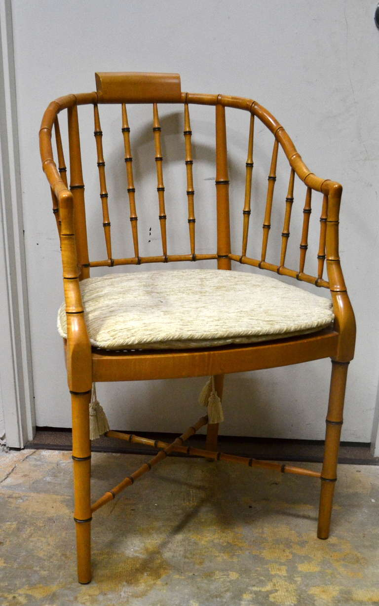 Bamboo arm chairs - Pair Of Vintage Baker Bamboo Armchairs 2