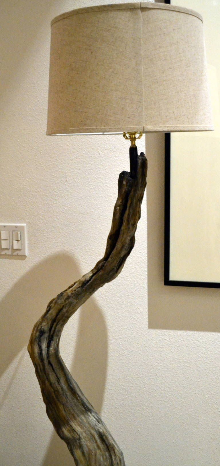 shade driftwood natural lamps nobby style with sculptural floor ideas design coast fitting rustic lamp or for wooden a wood room
