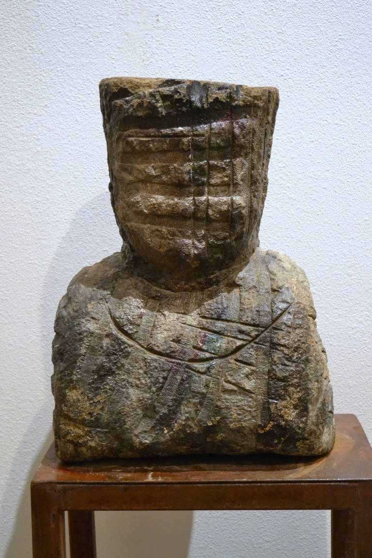 Abstract carved limestone head by vladimir prodanovich for