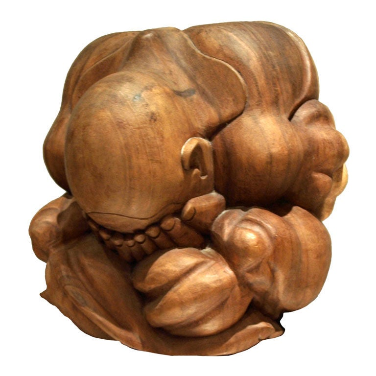 Large wood carving of a seated figure at 1stdibs for Learning wood carving