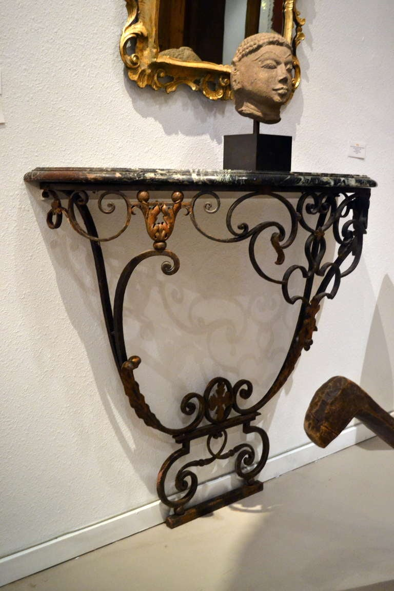 Pair Of Antique Wrought Iron Gilt And Marble Console
