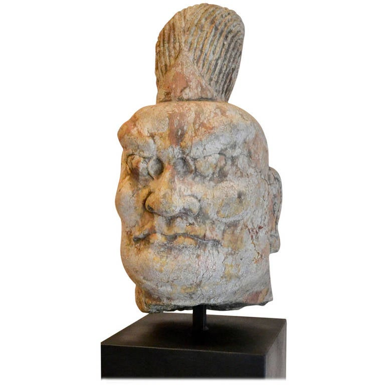 Tang dynasty ad carved stone head for sale at