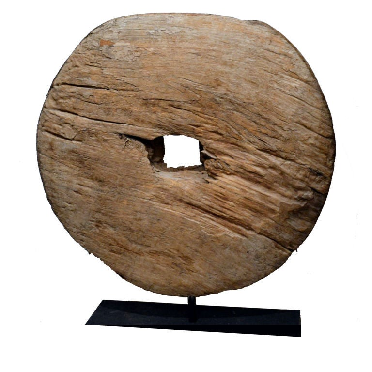 Antique Asian Wood Wheel at stdibs