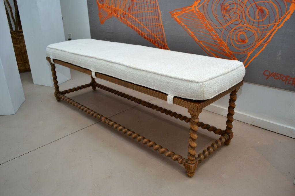 Italian wood jacobean style carved bench with cushioned