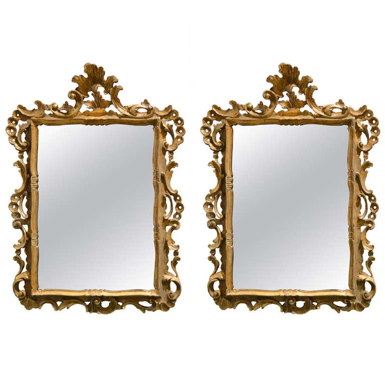Pair of Italian Gilt Carved Wood Mirrors