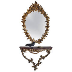 Antique Italian Gold Leaf Mirror and Console Table