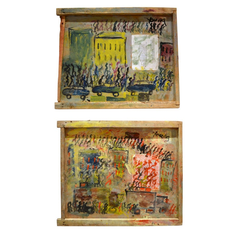 Amazing Pair of City Scenes by Purvis Young For Sale